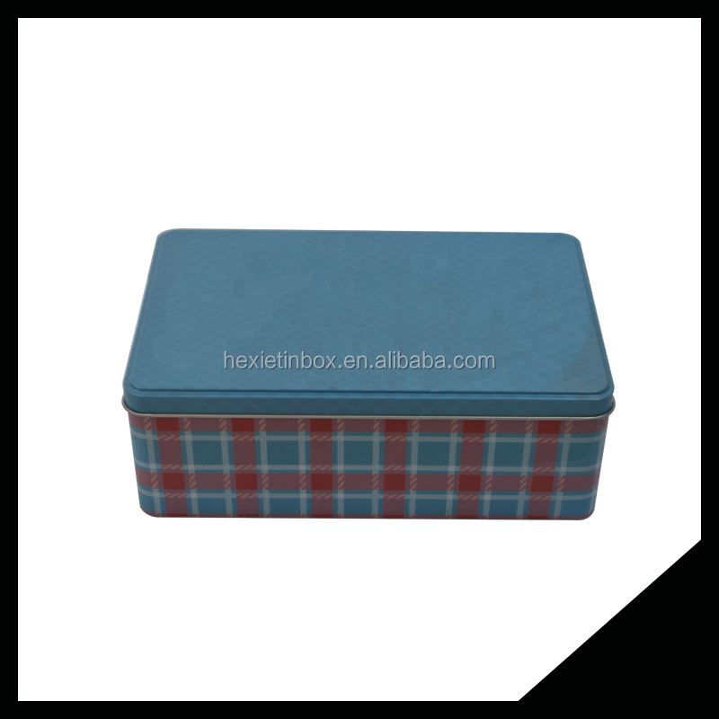 Elegant And Pretty Rectangle Hinged Biscuit Metal Tin Box