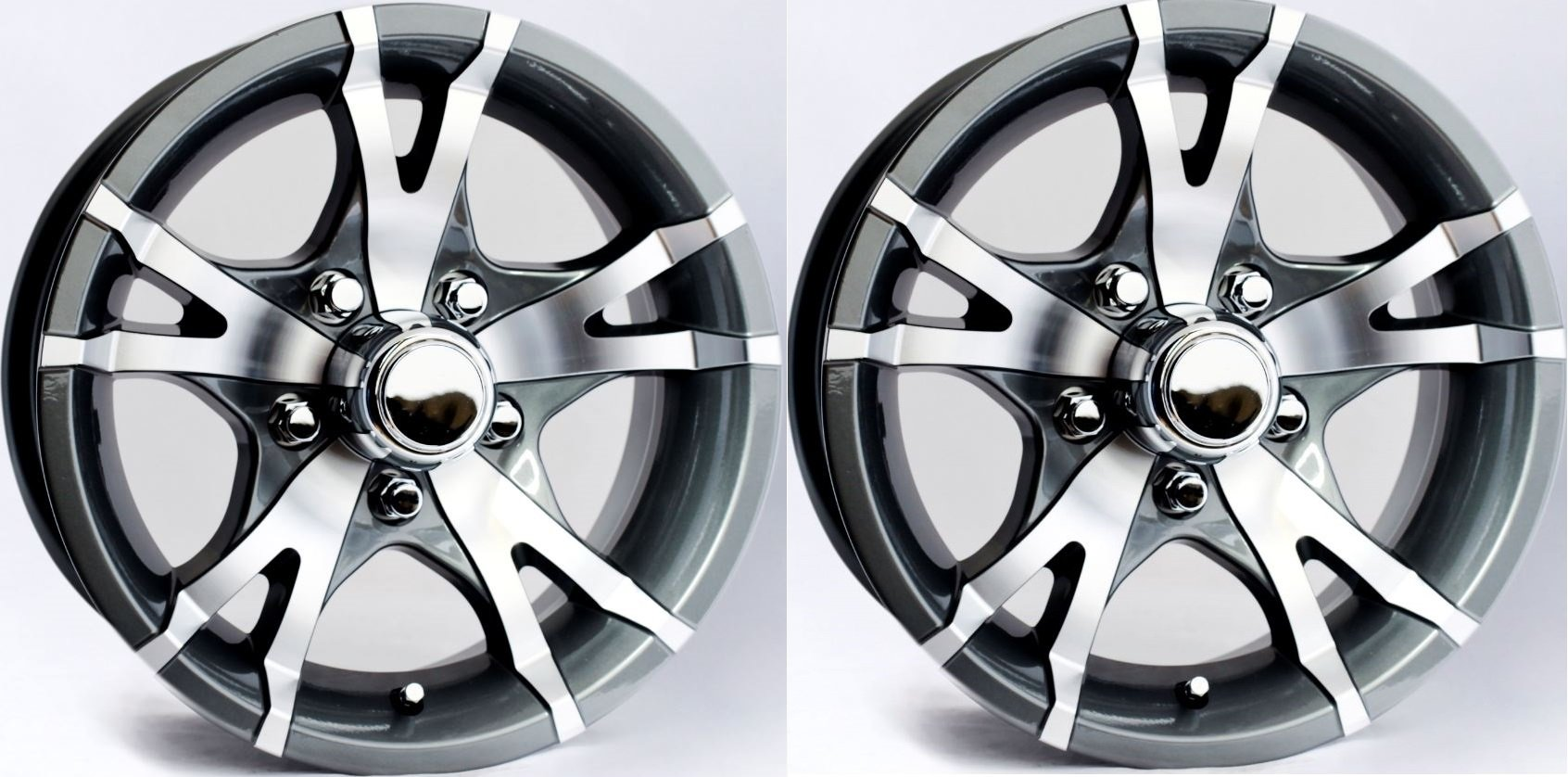 "eCustomRim TWO (2) Aluminum Sendel Trailer Rims Wheels 5 Lug 14"" Avalanche V-Spoke Gray"