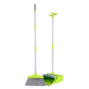 Durable Easy Storage Enclosed Plastic Dust Pan Standing Upright Sweep Set long handled Broom And Dustpan Sets