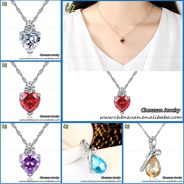 Good quality micro pave red coral crystal cubic zirconia jewelry necklace for wedding