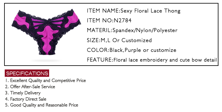 Sexy Lady Lace Cotton Bikini Thong Girl Mature Underwear Wholesale For Women