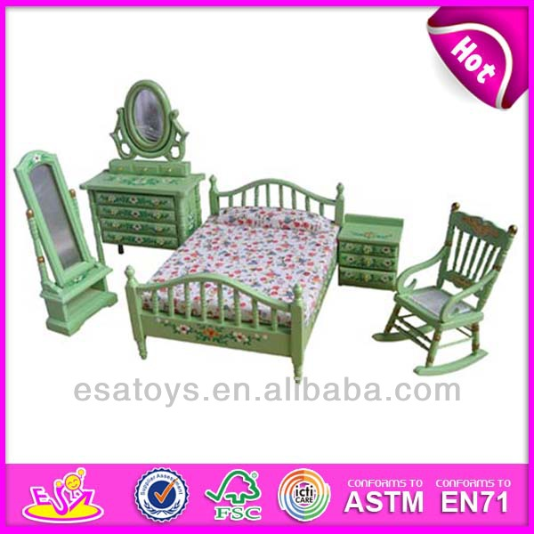 2015 New kids wooden toy furniture set,popular children wooden Green toy furniture set,miniatures decoration WJ278062