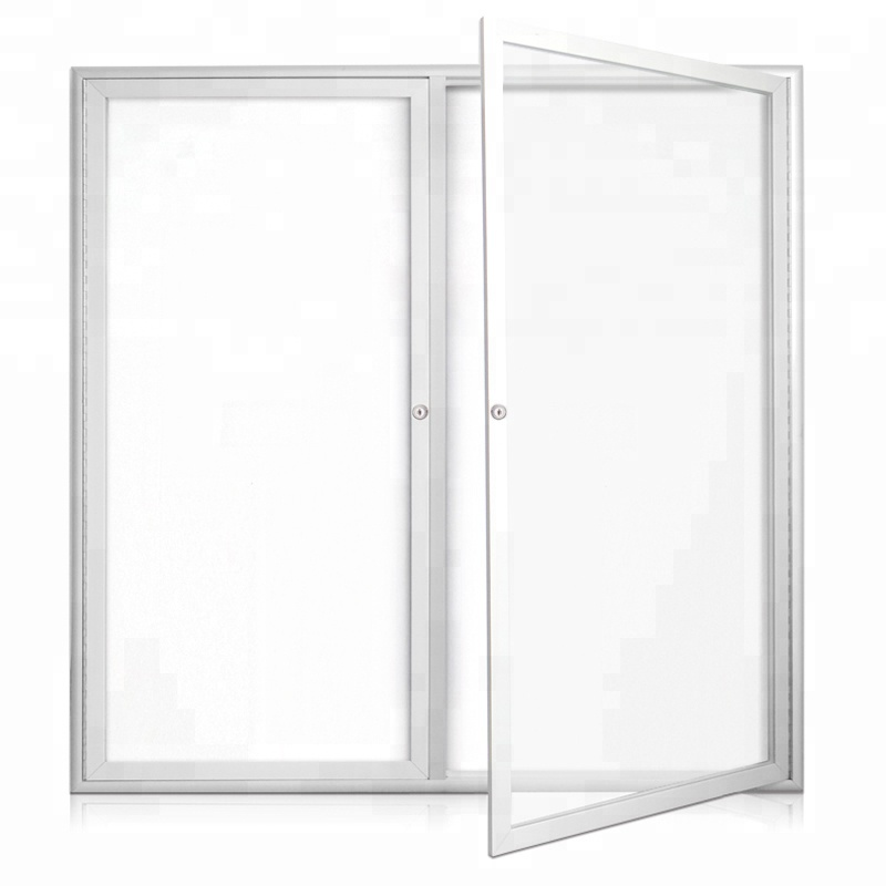 2 Door Enclosed Magnetic White Bulletin board Whiteboard Cabinet