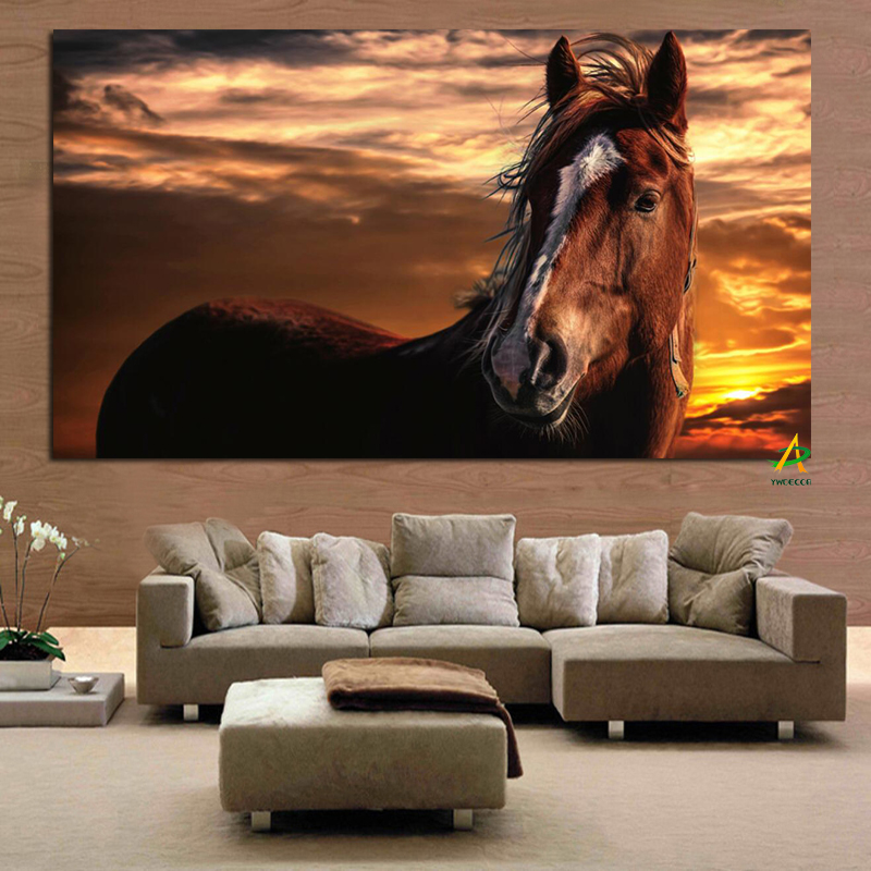 Brown horse with white stripe on face Standing Under the Sunset canvas print wall art