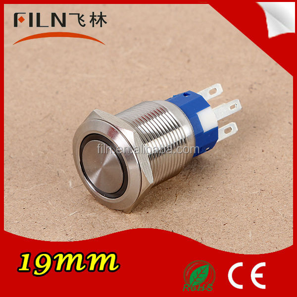 High quality stainless steel Diameter 19mm LED waterproof momentary push button switch