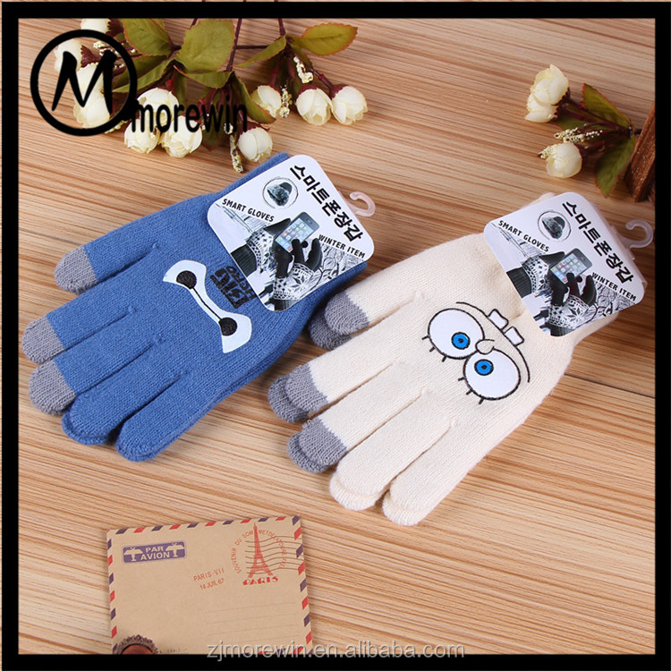 Morewin Gloves Custom Print Cartoon Pattern Touch Screen Gloves Acrylic Cute Knitting Gloves For Smart Phone