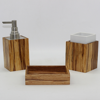 Bx Group 3pcs Cheap Natural Bamboo Bathroom Accessories Wooden