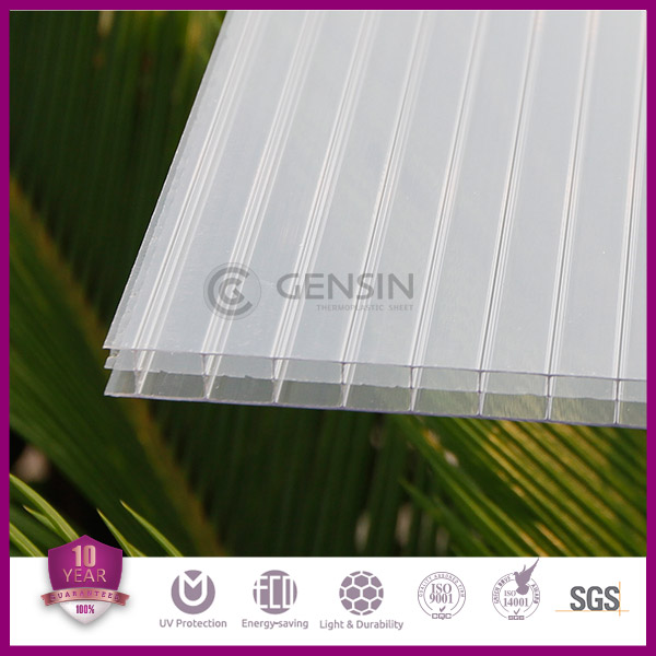Triple wall Polycarbonate Hollow Sheets 100% Lexan PC resin Panels Plants Greenhouse Roofing 50micron UV Coating Cheaper Price