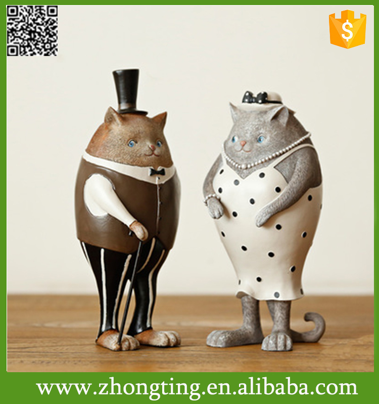 Fashion modern home interior decoration gift ceramic lovely big cat statue