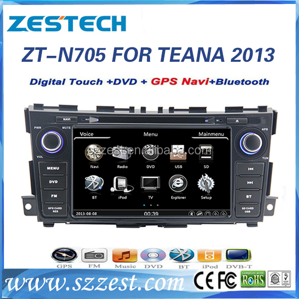 ZESTECH wholesale in-dash dvd car audio navigation for NISSAN Teana 2013 car dvd player with dual core ARM11 AM FM RDS TV tuner