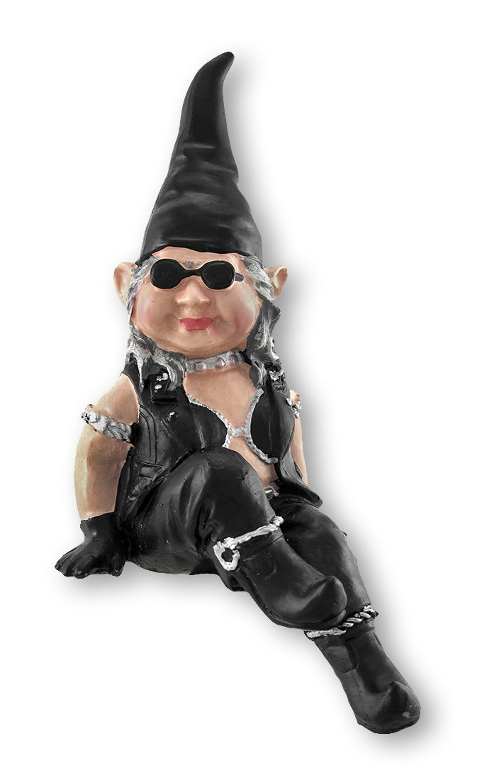 "Nowaday Gnomes - ""Biker Babe"" the Biker Gnome Shelf Sitter in Leather Motorcycle Riding Gear Home & Garden Gnome Figurine 6""H"