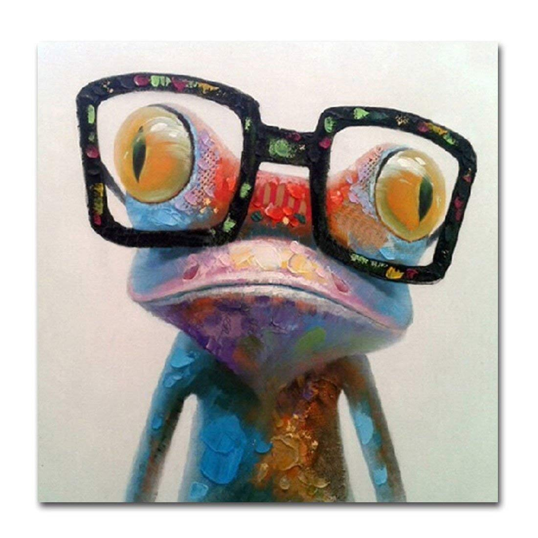 V-inspire Art, 24X24Inch, Happy Frog 100% Hand Painted Paintings Cute Frog with Glasses Abstract Art Large Wall Art for Living Room Artwork on Canvas Ready to Hang Framed Art for Bedroom Living Room