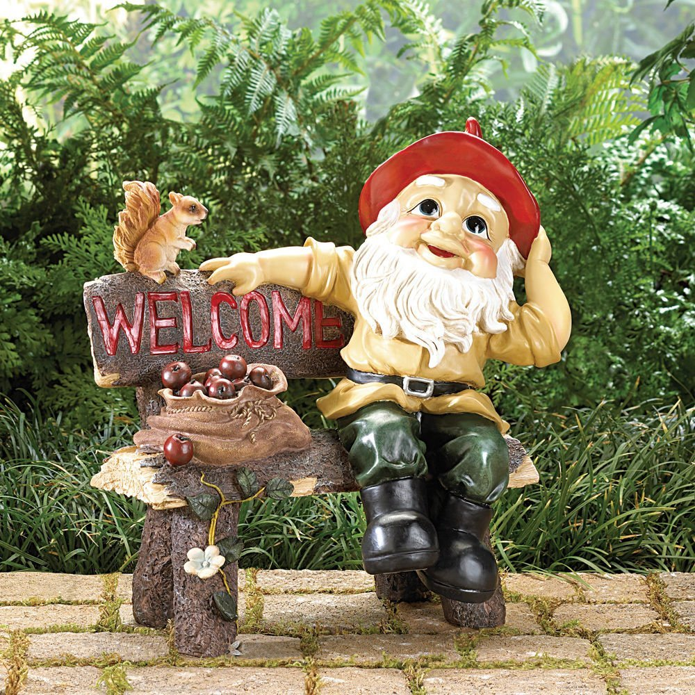 GARDEN GNOME ON A BENCH WELCOME GREETING SIGN STATUE DECOR NEW~39265 ..(from#_xtremebuys4u__JENT31361310320014