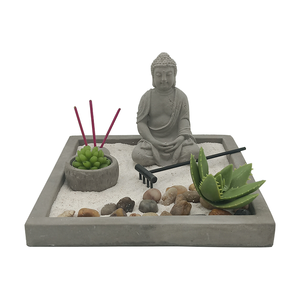 Tabletop decorative Religious Feng shui japanese Sand Cement mini buddha zen garden