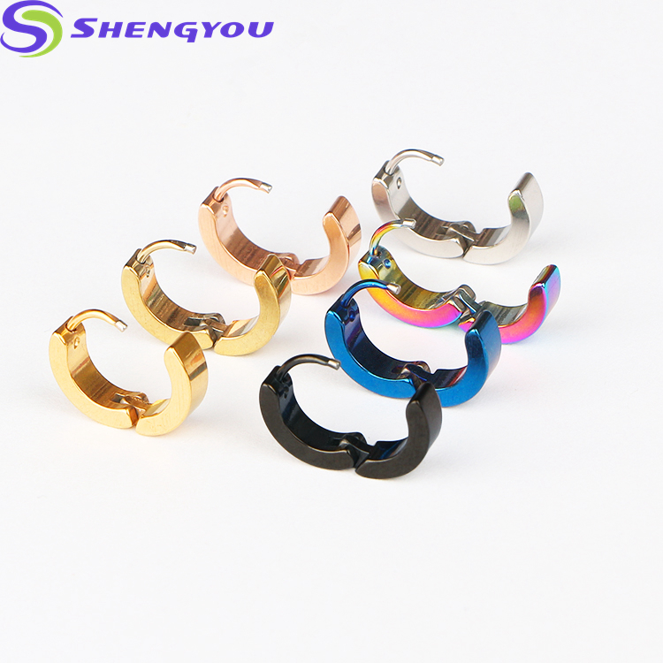Latest Women Jewelry Fashion Multi Color Stainless Steel Hoop Earrings Women