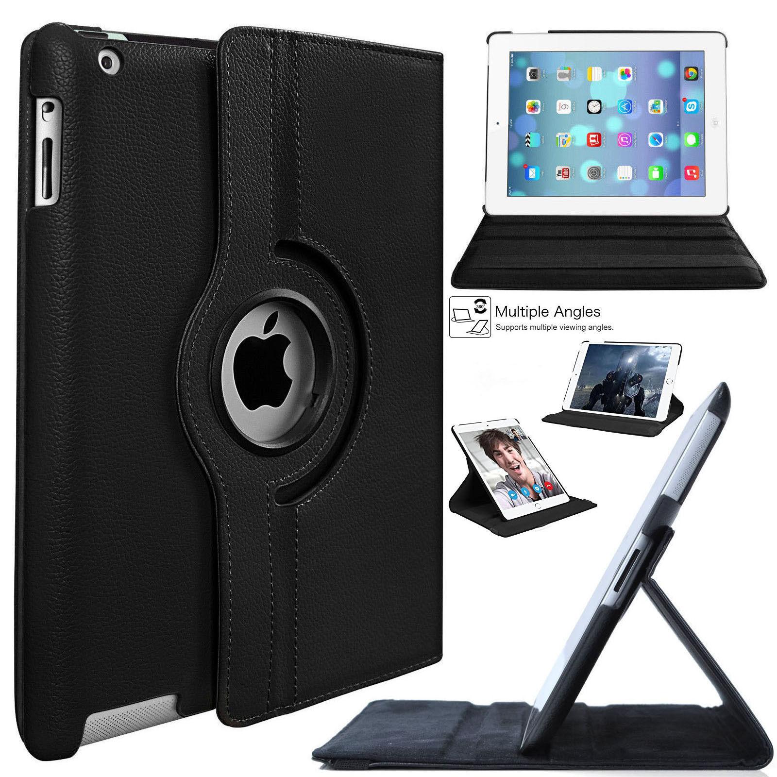 Novo 360 Graus de Rotação de Platina Cor Sólida 3 2 4 Couro Stand Case Capa para iPad Mini Air 9.7 2018