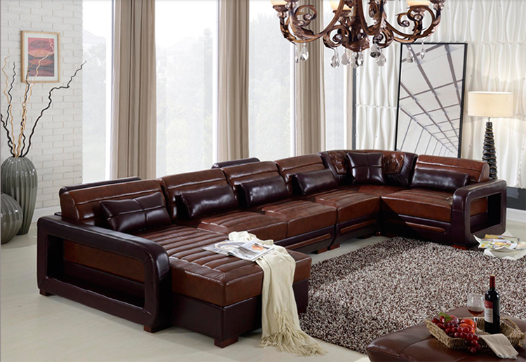 Classic Design L Or U Shaped Genuine Leather Corner Sofa