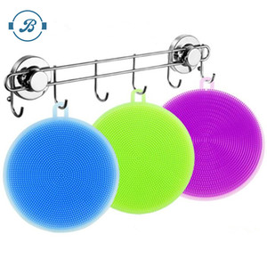 Silicone Dish Scrubbers Antibacterial Kitchen Sponges Non Scratch Multi-purpose Dishwashing Brushes Stink Free Sponges