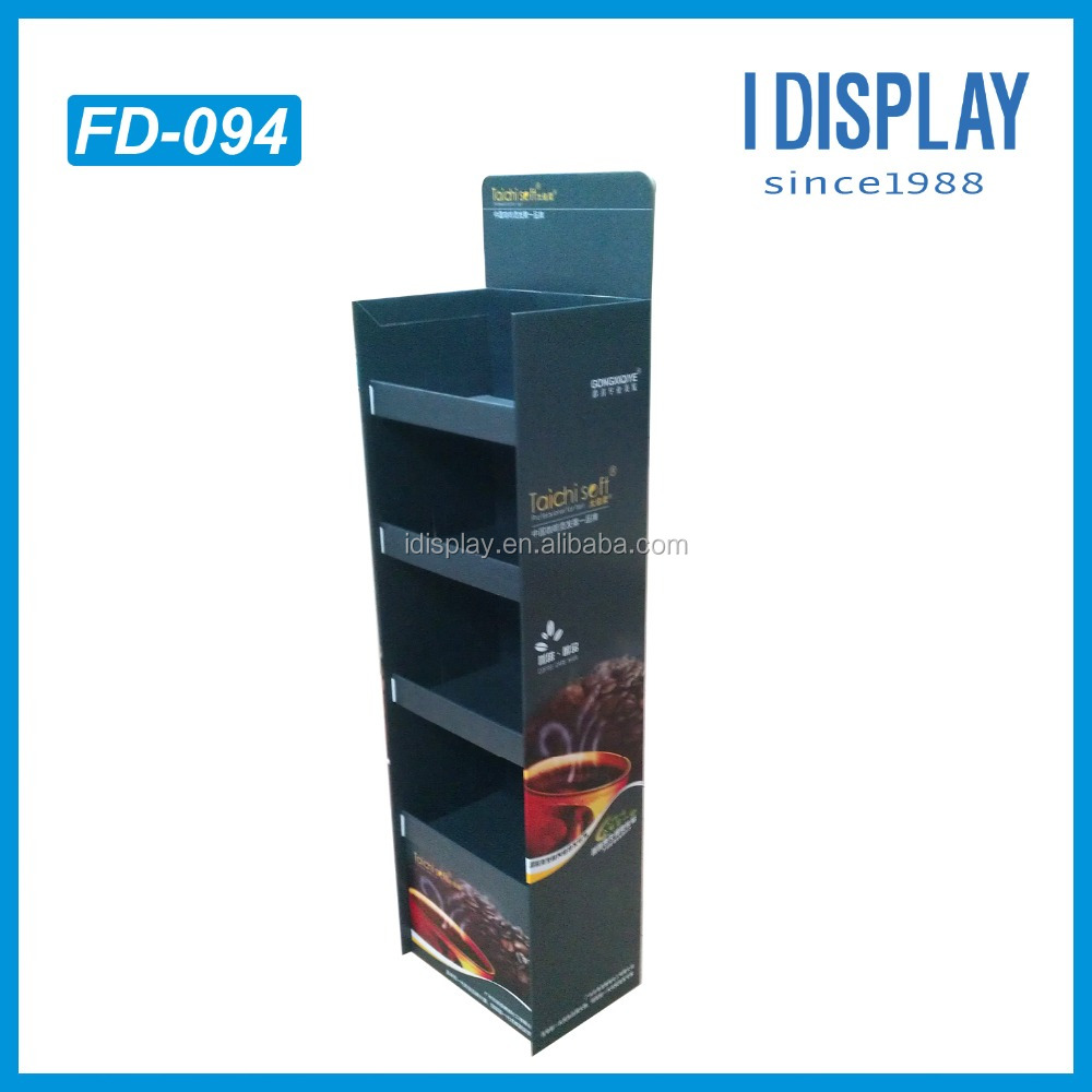 Four Shelf Hot Selling Items Black Free Beverage Paper Display Stand