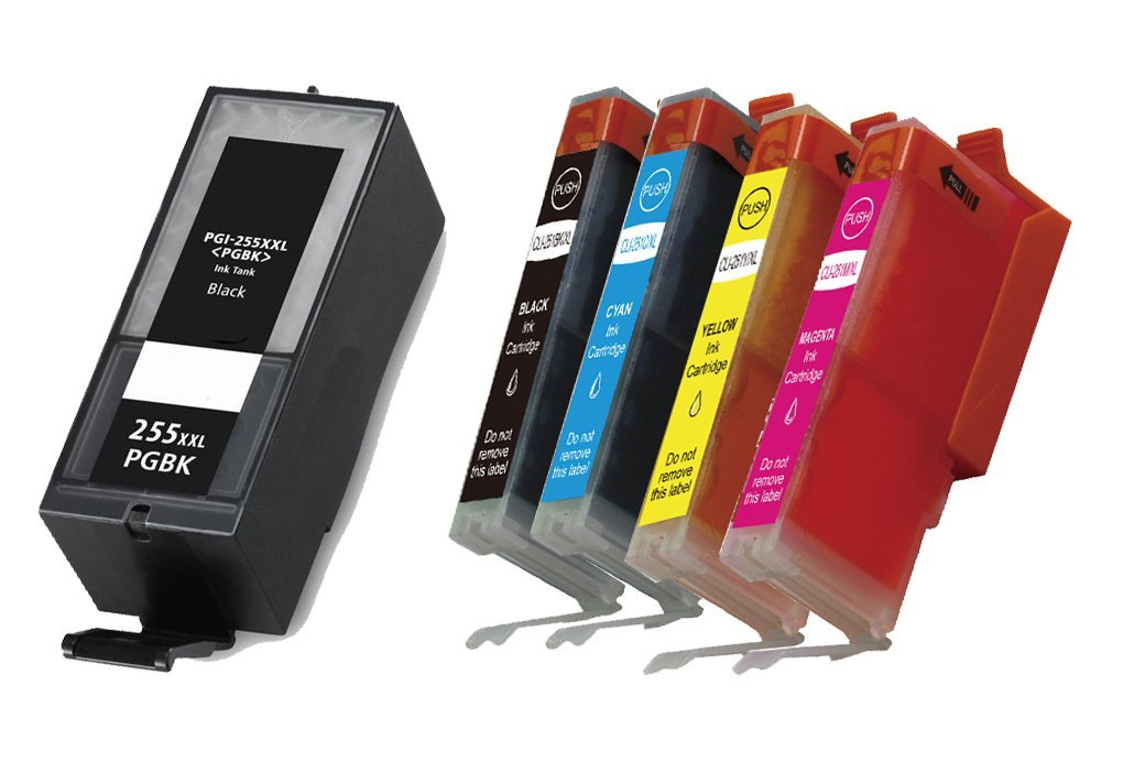HI-VISION® Compatible Ink Cartridge Replacement Canon Extra High Yield PGI-255XXL (1 Black) CLI251XL (Black,Cyan,Yellow,Magenta) 8050B001 for PIXMA iX6820,MX722,MX922 Inkjet Office All-In-One printer