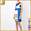 Multicolor geometric print jersey casual dress for women