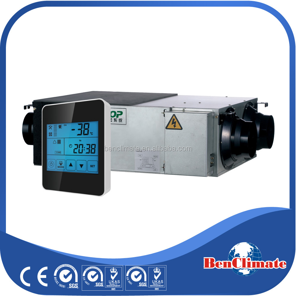 CO2 concentration reduction ventilation fan with touch screen controller