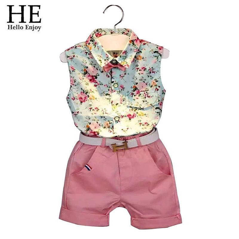 Children clothing casual sleeveless summer style baby boys girls Shirt shorts belt 3pcs suit children clothing