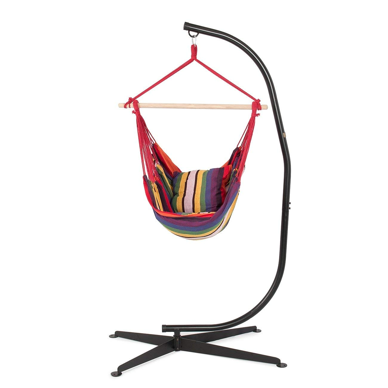 Get Quotations · Svitlife Hammock Chair With C Frame Stand Combo Hanging  Rope Solid Steel Frame, Cotton Fabric