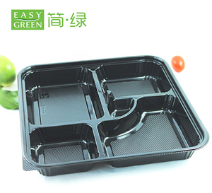 Disposable Divided 5 Compartments Shinning Take Away Food Container PS Plastic Lunch Trays And Lids