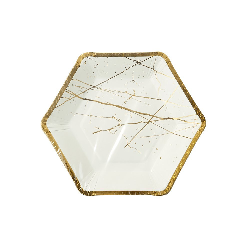 Talking Tables Modern Metallics Hexagonal Gold Trim Marble Effect Paper Plates for a Birthday or Tea Party, Gold (8 Pack)