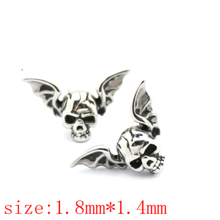 Factory direct punk style cool boys evil skull earrings studs metal skulls and spikes earrings for men and women (AE-022)