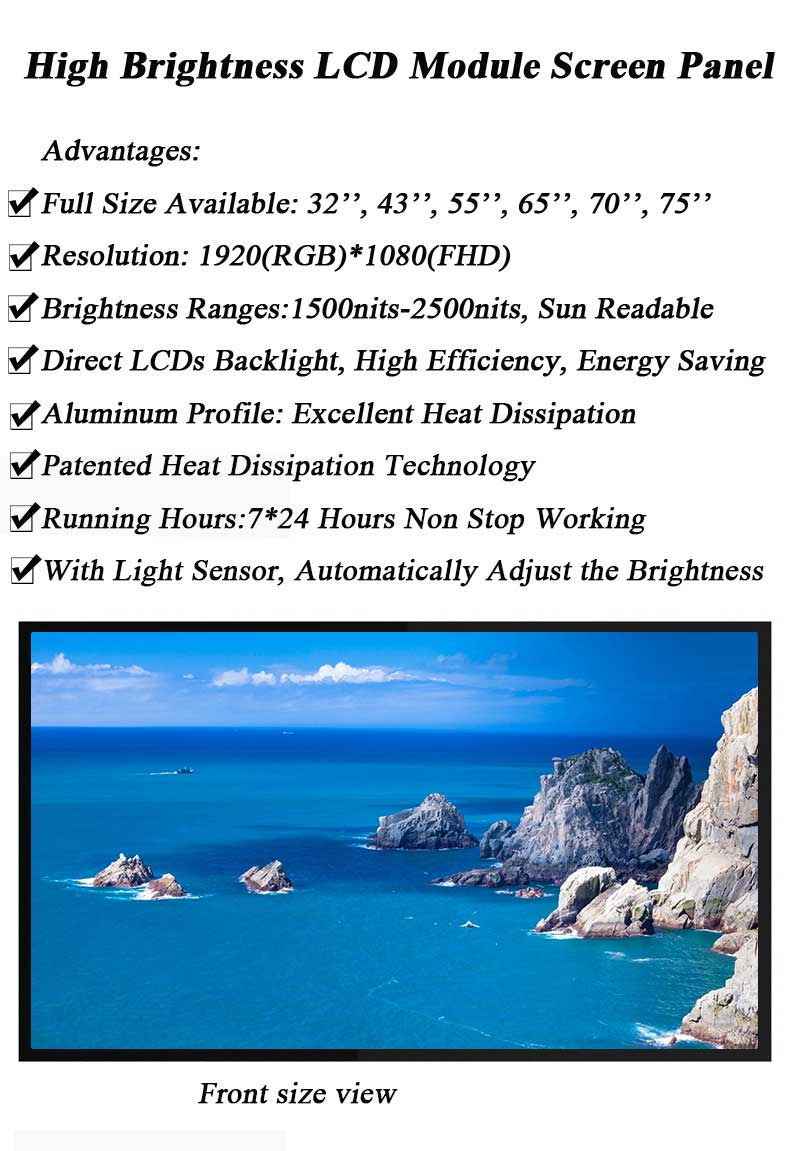 55 Inch High Brightness Lcd Panel With Sunlight Readable Module 70 Tft For Outdoor Kiosk Light
