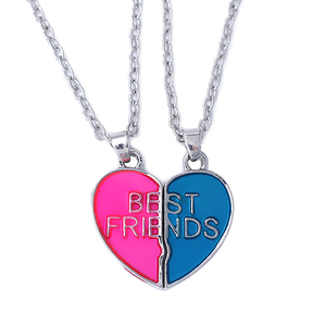 HUSURU Best Friends Forever BFF Heart 2 pcs Necklaces Charm Pendant Engraved Letters For Friendship Gifts
