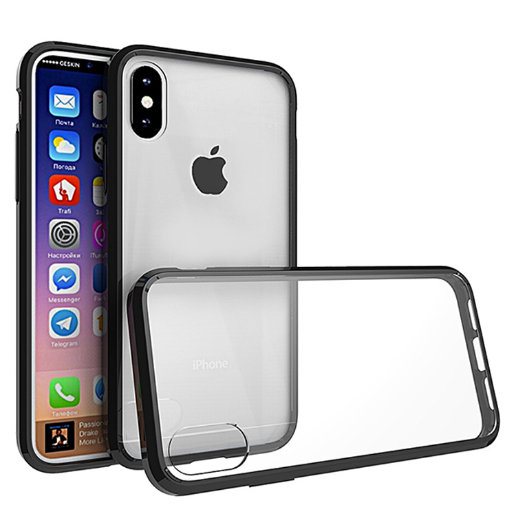 Anti-shock black tpu bumper transparent hard pc phone covers case for iphone X 8 plus ,case for iphone 8