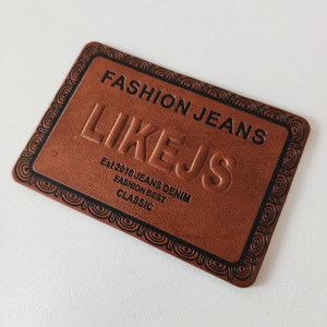 Custom jeans pu leather patch labels for garment