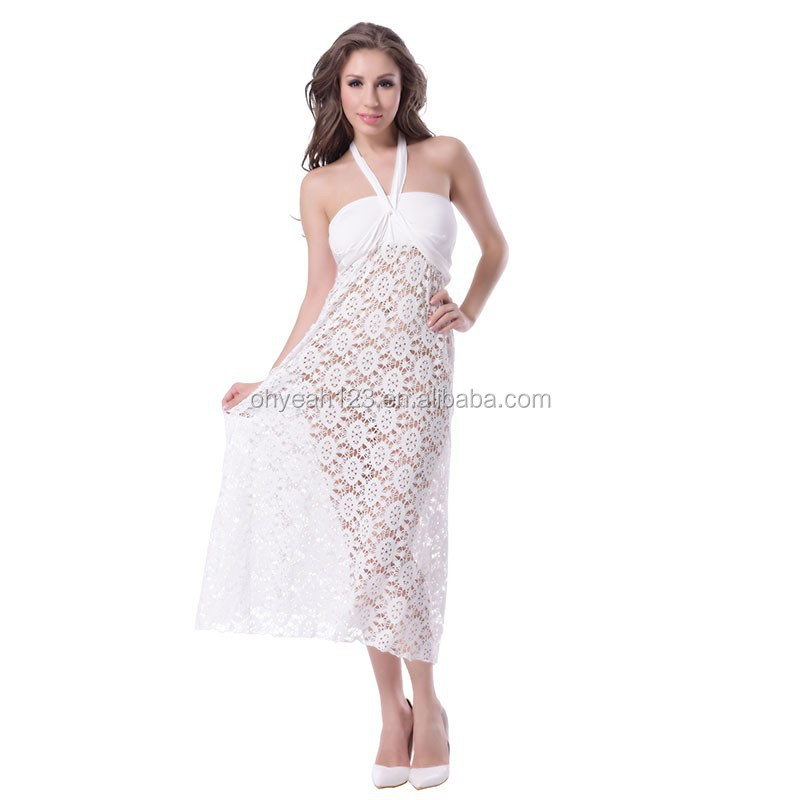 Latest design halter crochet white summer long beach dress