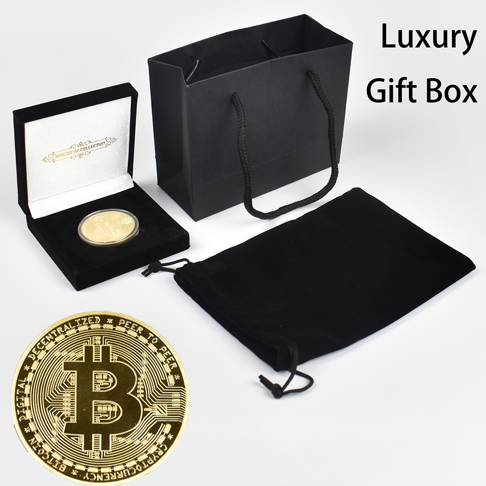 New Packaging 999 Gold Plated Bitcoin Coin with Luxury Gift Box