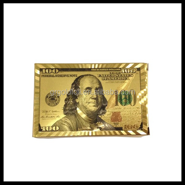 New product !New edition $100 playing card Durable gold PET playing cards best business gift gold playing cards