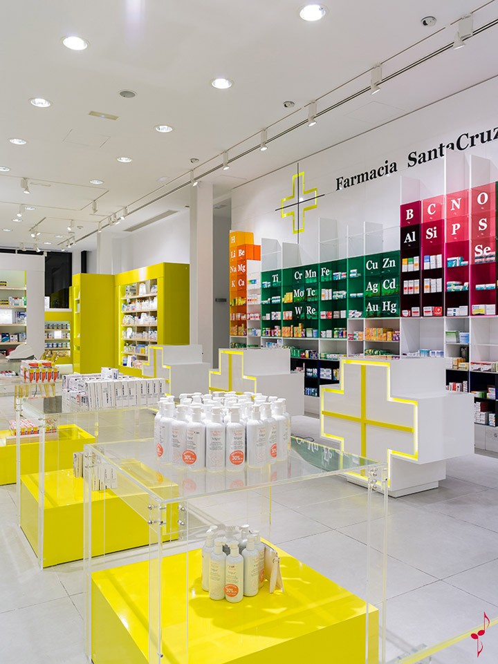 Green Pharmacy Interior Store Display With Lighting Shelf In China ...