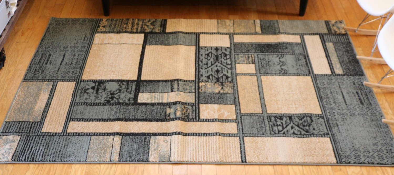 Feraghan/New City Brand New Contemporary Modern Square Boxes Area Rug, 8' x 10', Blue and Beige