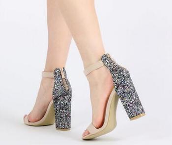 Bc-0019 2017 Latest Fashion Sexy Glitter Block Heel Suede Women High Heel  Sandals - Buy High Heel Sandals 15504d57501b