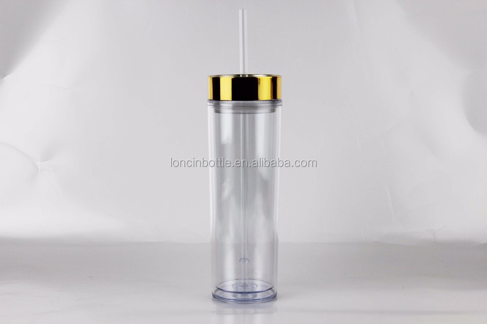 Hot Sell Gold Lid 16oz Double-Walled Straw Tumbler,Gold Foil Tumbler With Metallic Gold Lid
