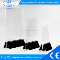 Acrylic Sign Holder for Tabletops, Top Insert Acrylic Display Frame, T-style Clear Acrylic Table Tent with Open Top
