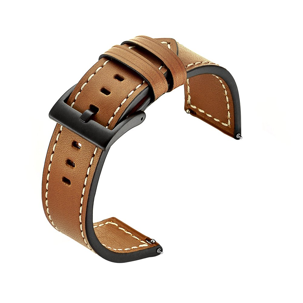 Kartice Compatible Gear S3 Bands,Galaxy Watch (46mm) Bands, 22mm Genuine Leather Strap Replacement Buckle Strap Wrist Band for Samsung Gear S3 Frontier Smartwatch(Brown)