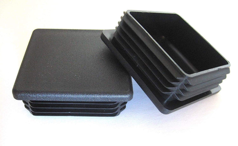 8 PK: 2'' Square Black Plug, 2 Inch Plastic End Cap, Fits 2x2 Post Fence Tubing