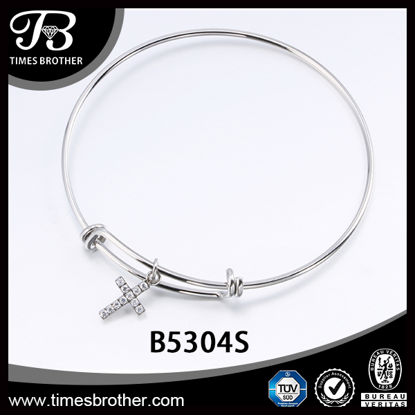 Factory Pirce New Design Making Silver Bracelet, Fashion Element DIY Charm Ajustable Expandable Wire Bangle
