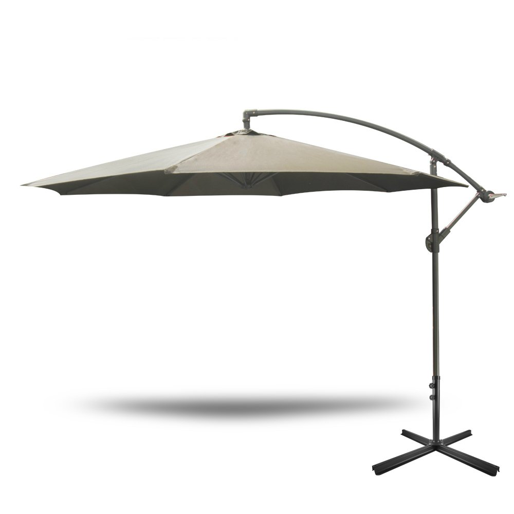 Yongtong Offset 10 Ft Patio Umbrella Adjule Cantilever Hanging Outdoor Umbrellas With Cross Om