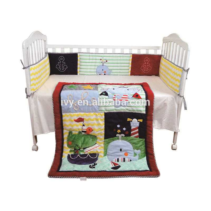 2015 baby Crib Bedding set, baby cot bedding set 100% silk made in China sweety bed sheet set