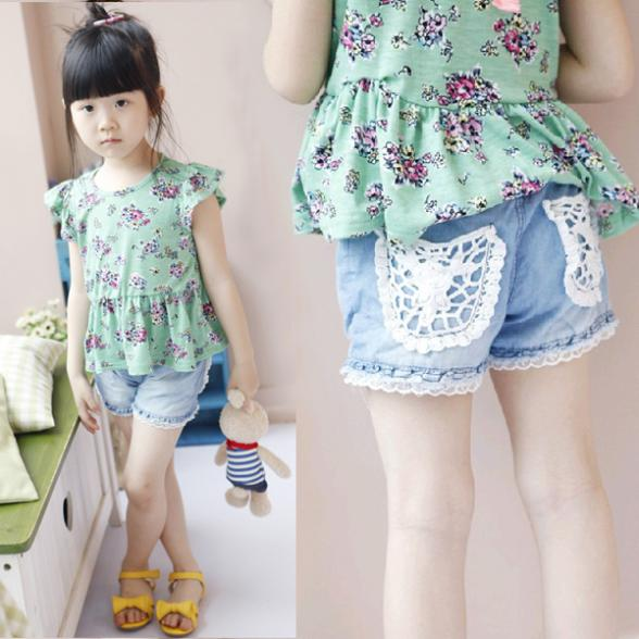 Wholesale Kids Girls Shorts Jeans Lace Pocket Demin Summer Short PantsZQ1
