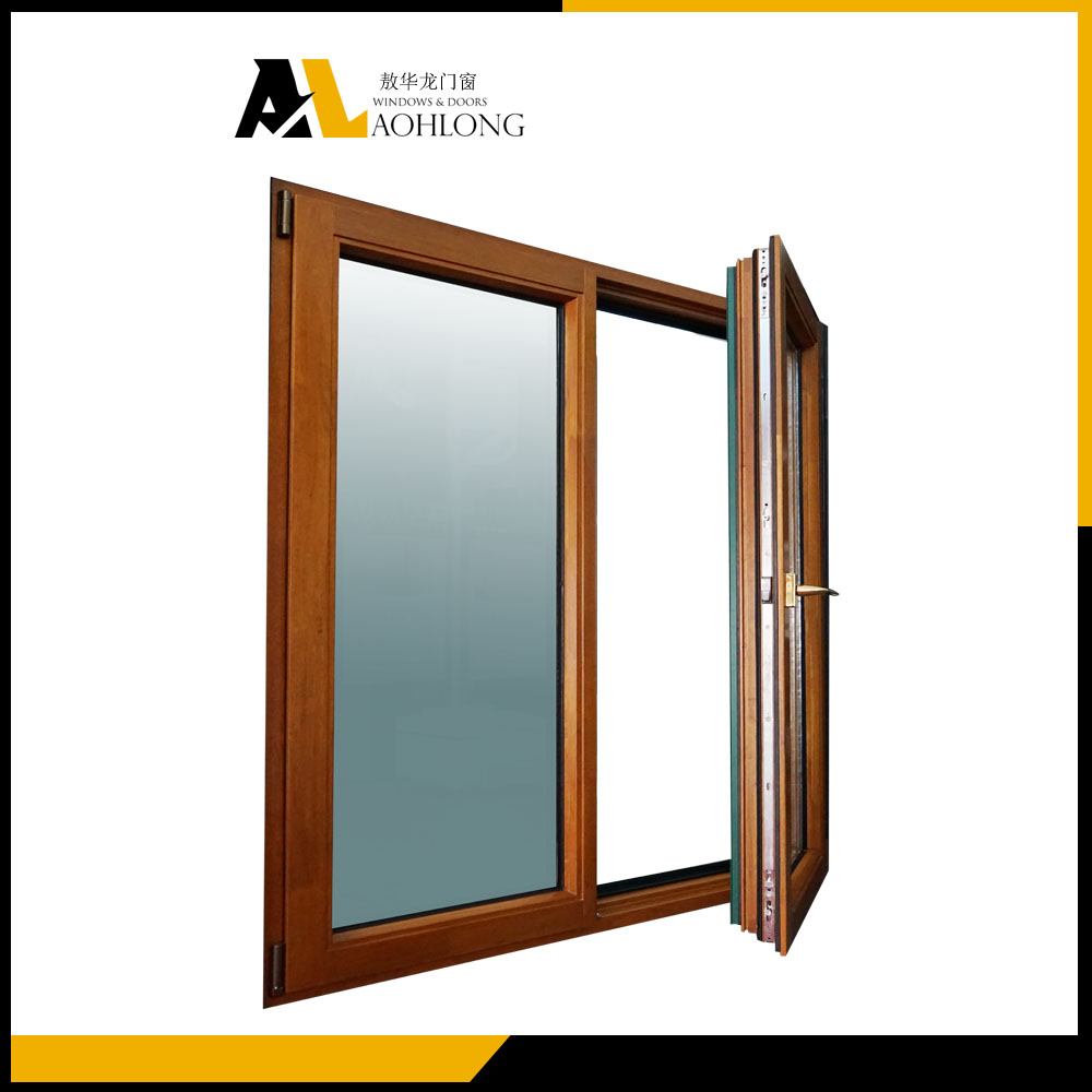 Aluminium clad wood french casement window open inside side hinged window